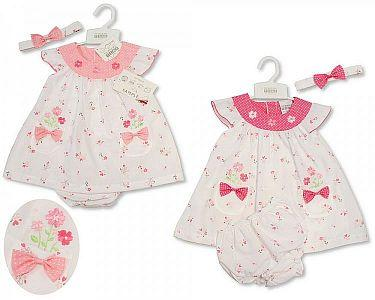 Baby Dress - Flowers and Bows  -