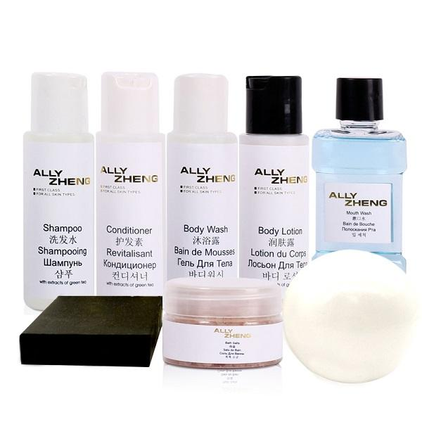 ALLY ZHENG Cobalt Blue Luxury Hotel Amenity Set - mildly formulated with green tea extracts, rich and thick textures