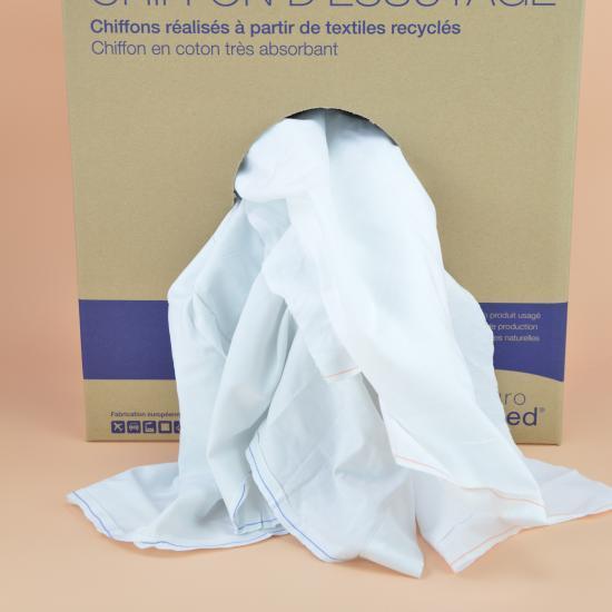 Chiffon drap caritas blanc régulier cotonneux carton... - Essuyage