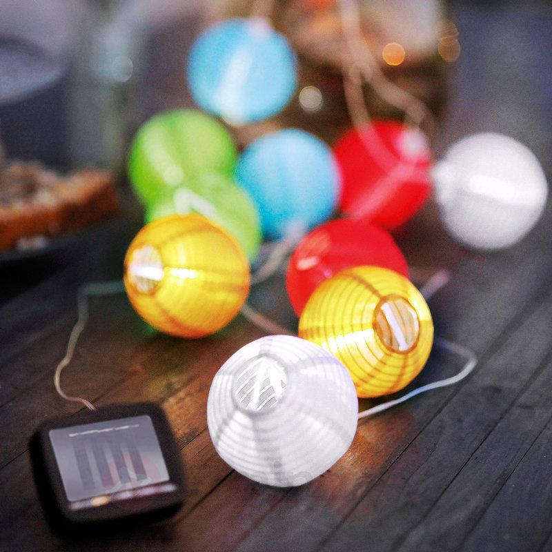 Guirlande lumineuse solaire multicolore Lampion - Lampes solaires décoratives