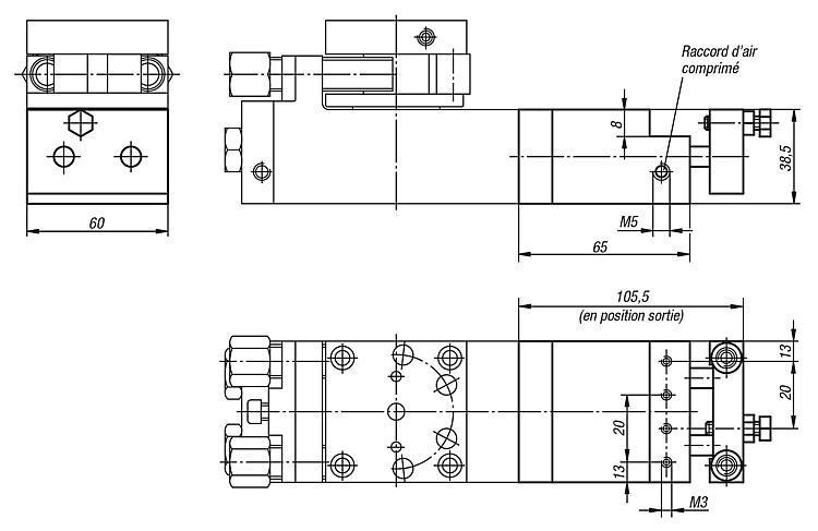 Butée de position intermédiaire pour module 20062-016 - Système de manipulation pneumatique