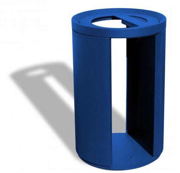 Corbeille publique Vigipirate ajourée - couvercle avec cendrier intégré
