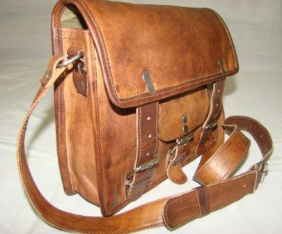 Leather Small Messenger Bag - Small Messenger front pocket  Leather Bag
