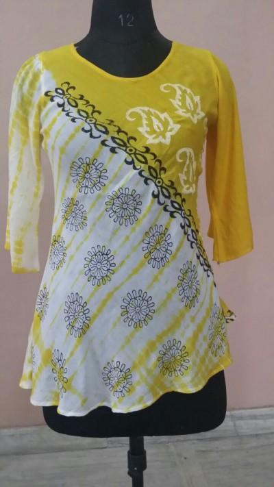 Tie Dye Rayon Blouse with Block Print - Manufacturer, Exporter, Producers