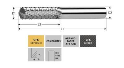 Milling Tools: for GFK/CFK - sc pyramide end mill with drill