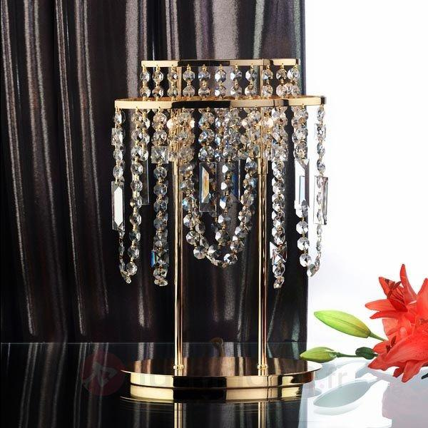 Lampe à poser Jevana pendentif de cristal clair - Lampes à poser en cristal