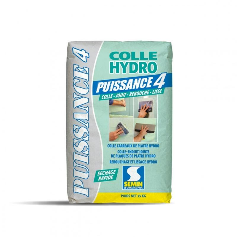Multi-purpose adhesive for partition walls, water-repellent for plaster blocks - COLLE PUISSANCE 4