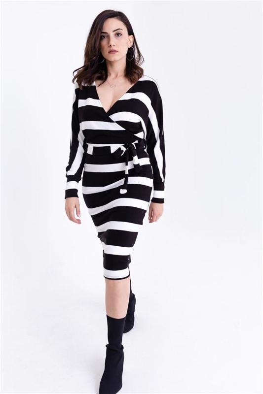 Women Black-breasted Collar Striped Sweater Dress - Knitwear Dress