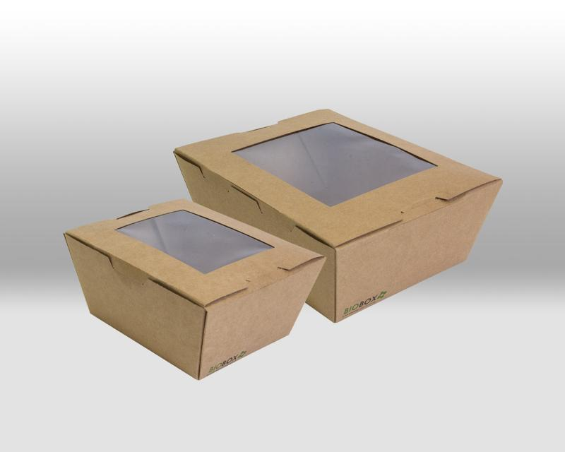 KrafPaper Containers Biobox with window - PACKAGING FOR TAKEAWAY