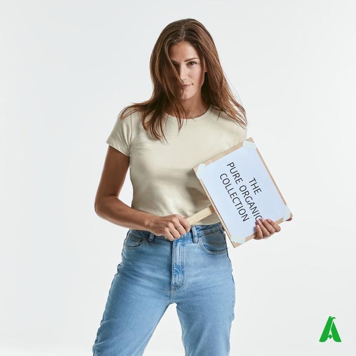 T-shirt 100% cotone organico di qualita' da donna, aderente - T-shirt donna aderente, in tessuto cotone organico ecologico e personalizzabile