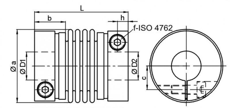 Miniature metal bellows coupling MKP - Miniature metal bellows coupling MKP with radial clamping hub