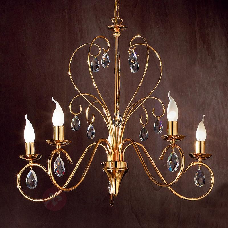 Lustre gracieux FIORETTO à 5 ampoules, doré - Lustres classiques,antiques