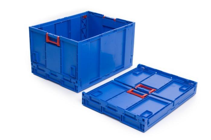 Caixa de plástico rebatíveis - com fundo, 183L