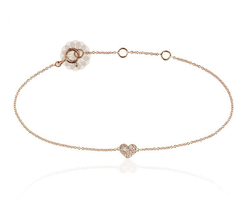 heart in yellow diamond charm gold set belcher bracelet anklet