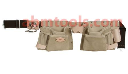 11 Pocket Professional Style Split Leather Carpenter Apron - Double stitched & rivet reinforced for added strength.