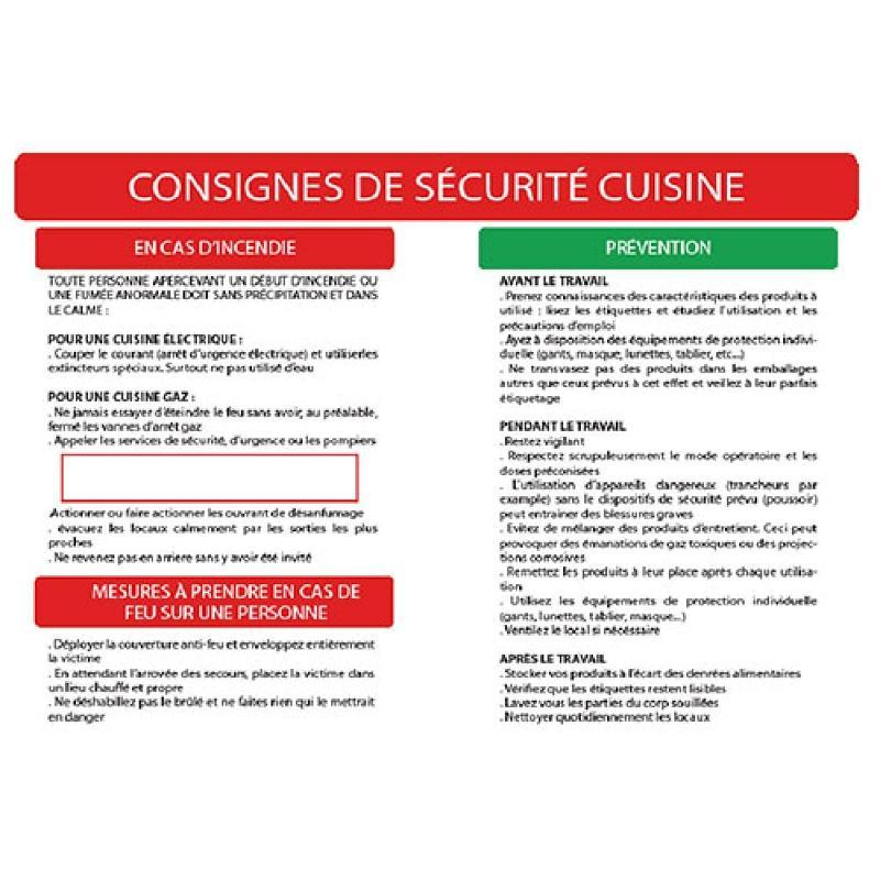 Consigne de sécurité cuisine format A3 - Panneaux de sécurité