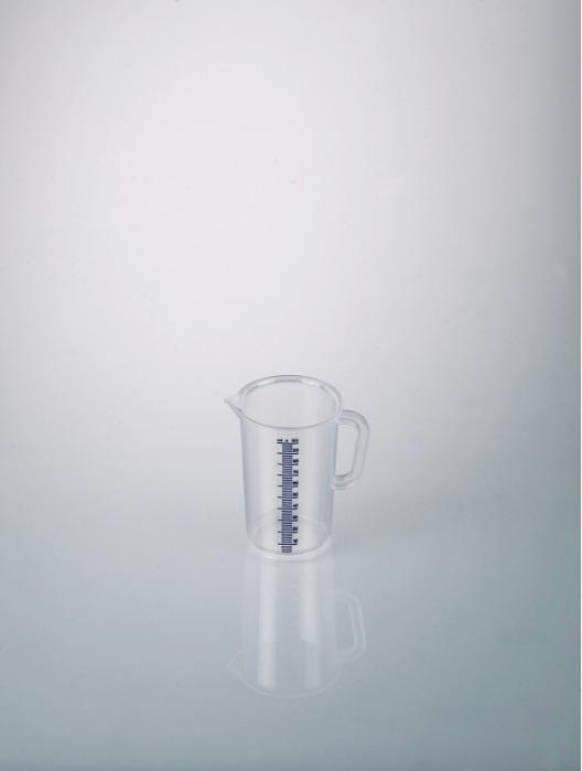 Jarras graduadas con asa, escala azul - Vaso de plástico, PP, transparente, medición de volumen, material de laboratorio