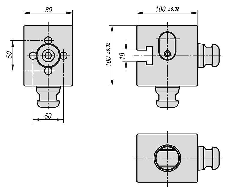 Adaptateur orthogonal à pas de 80 mm - UNI lock Pas de 80 mm