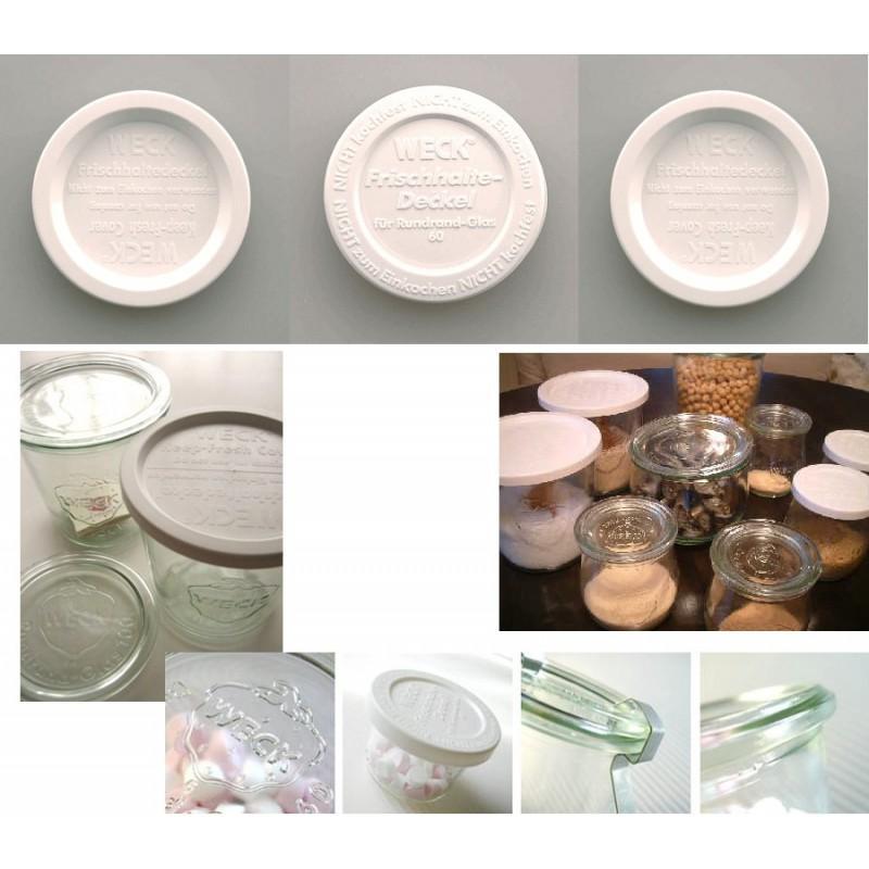TAPAS DE CONSERVACIÓN WECK - lote de 5 tapas de conservación en plástico Weck, diámetro 100 mm
