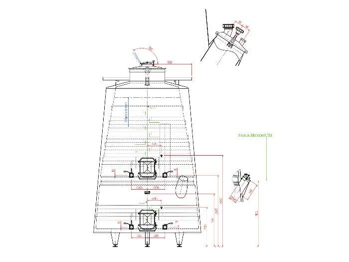 Serbatoio in acciaio inox 304L - 172 HL - Tronco di cono isolato - Circuito a compartimenti stagni e a guscio