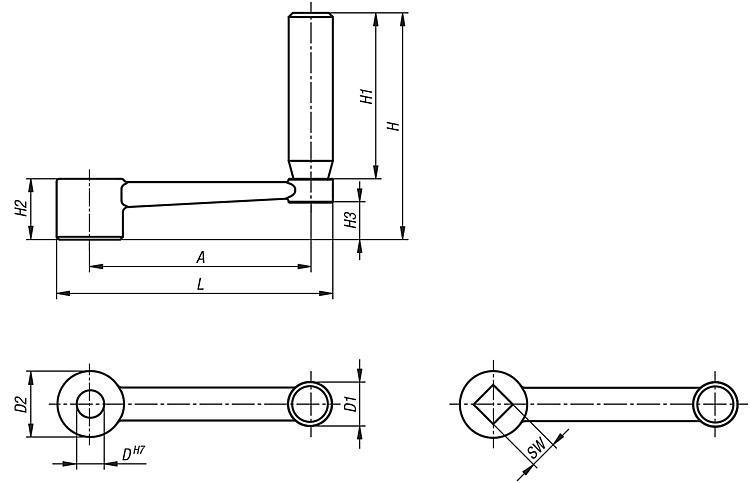 Manivelle en inox avec poignée cylindrique tournante - Volants, manivelles et poignées