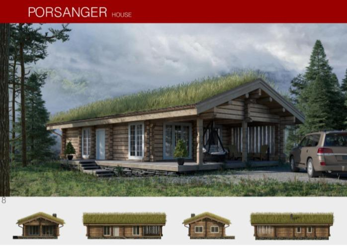 Prefabricated wooden house PORSANGER - Houses produced using Norwegian log processing technology