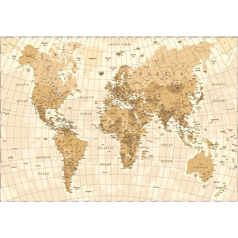 Papier Peint Adhésif Panoramique World Map - PAPIER PEINT PANORAMIQUE