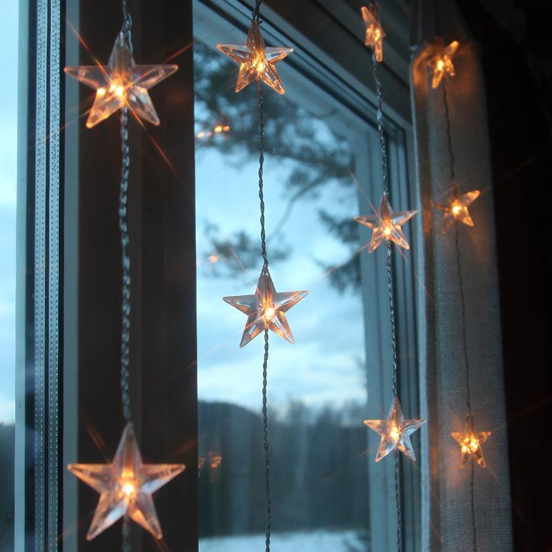 Rideau lumineux LED Star 5 cordons, 30 lampes - Rideaux et filets lumineux