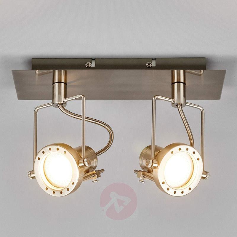 2-bulb Agidio LED spotlight, satin nickel - Ceiling Lights