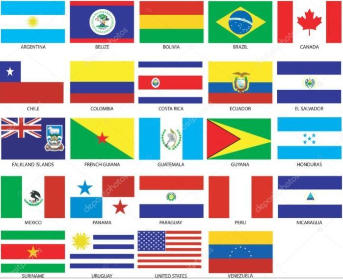 Bandiere Centro e Sud America per abbigliamento ricamate  - Bandiere da cucire o termoadesivare su abbigliamento