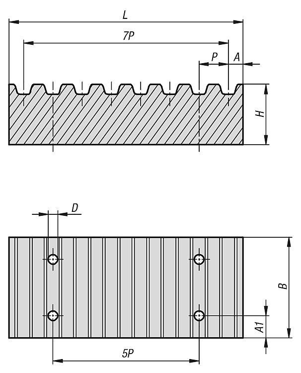 Plaque de jonction pour courroie dentée profils T et AT - Roues dentées Barreaux dentés Courroies dentées