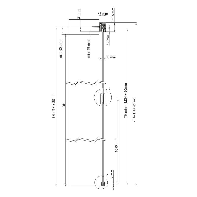 Modern Line 50, wall mounting - Kraus sliding door set