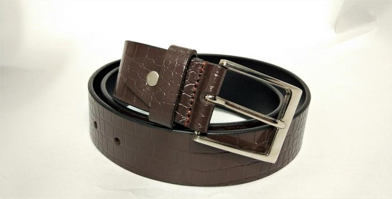 Leather belt - Leather Alligator print belt for men