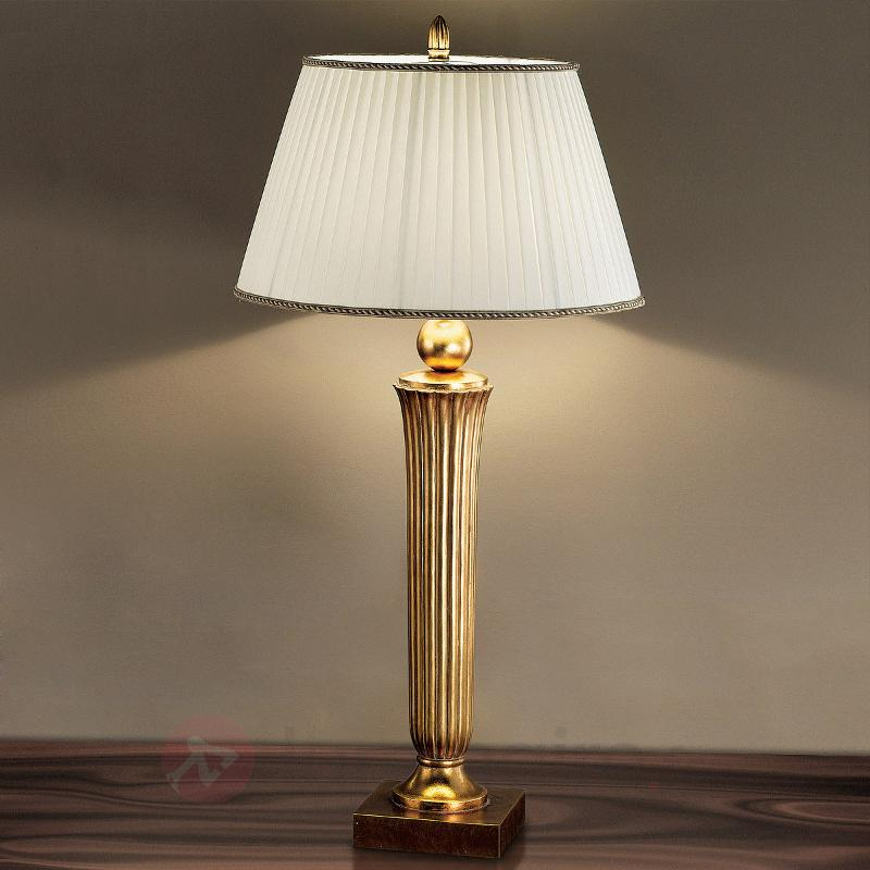 Lampe de bureau attrayante JANNI à tonalité dorée - Lampadaires en tissu