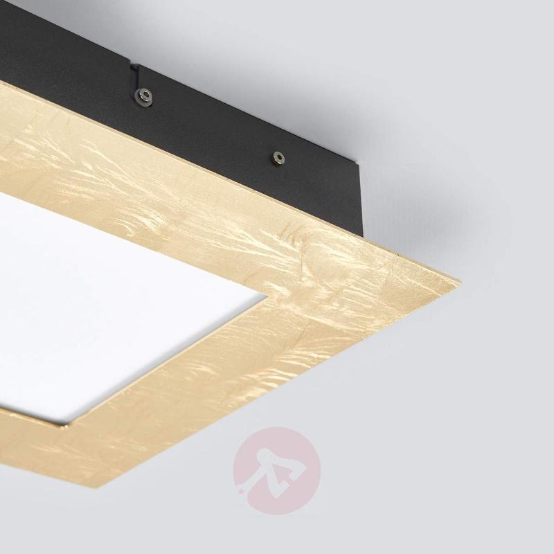 Rectangular LED ceiling lamp Deno, gold metal leaf - Ceiling Lights