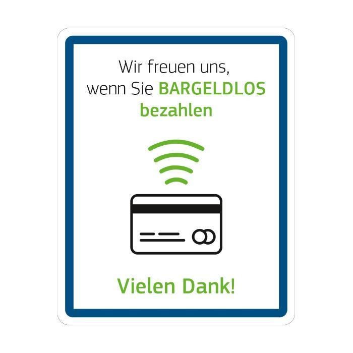 Hinweisschild - Bitte bargeldlos zahlen - Größe: 20 (B) x 25 (H) cm Forex ist eine leichte Hartschaumplatte aus PVC auch f