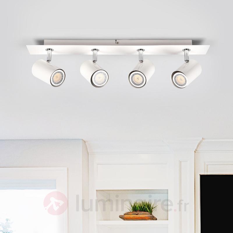 Plafonnier oblong Merle blanc, à 4 lampes - Spots et projecteurs halogènes