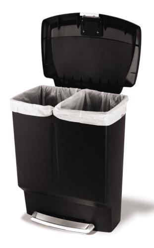 Poubelles à pédale - Duo recycler 60L