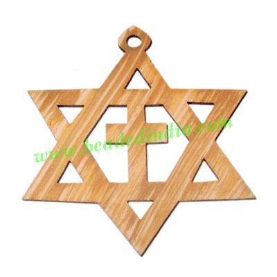 Handmade wooden star of david and cross pendants, size : 41x - Handmade wooden star of david and cross pendants, size : 41x49x1.5mm