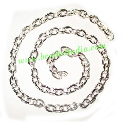 Silver Plated Metal Chain, size: 1x6mm, approx 18.1 meters i - Silver Plated Metal Chain, size: 1x6mm, approx 18.1 meters in a Kg.