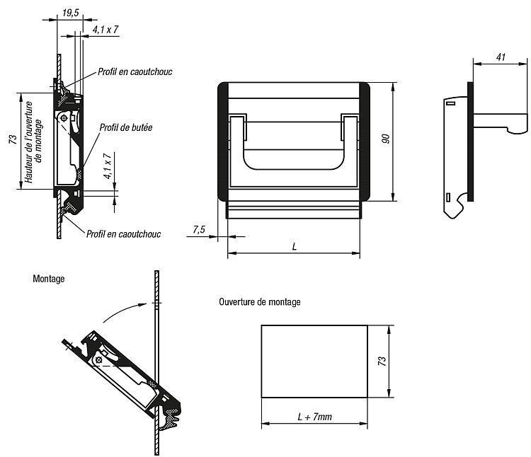 Poignée alcôve escamotable - Poignées de manutention, poignées tubulaires et poignées alcôve