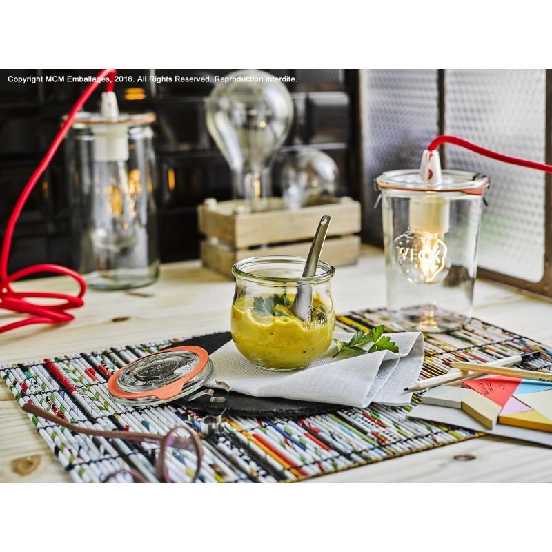 6 Vasi in vetro Weck Modele COROLLE 370ml - diametro 80 mm. Guarnizioni e coperchi inclusi