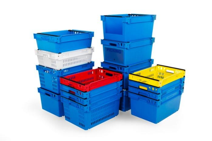 Stack and nesting boxes  - bale-arm crates, 53L (solid and/or perforated)
