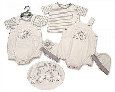 Baby 2 Pieces Dungaree Set with Hat - Zebra -