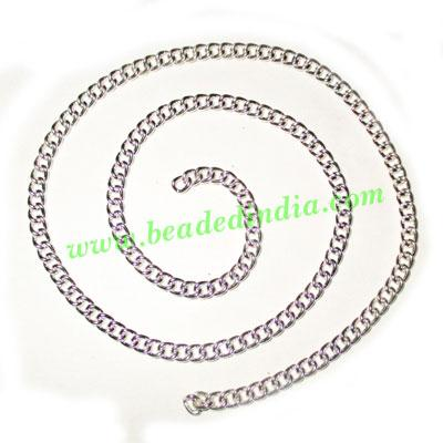 Silver Plated Metal Chain, size: 1x4mm, approx 31.3 meters i - Silver Plated Metal Chain, size: 1x4mm, approx 31.3 meters in a Kg.