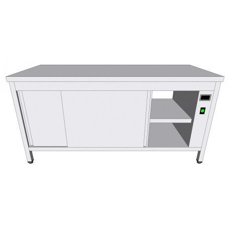 Table-armoire centrale chauffante passante en inox - Tables-armoires inox chauffantes