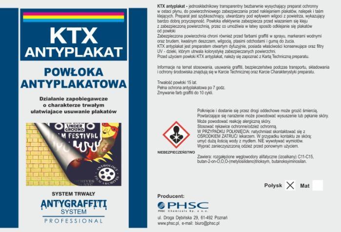 Powłoka antyplakatowa KTX -