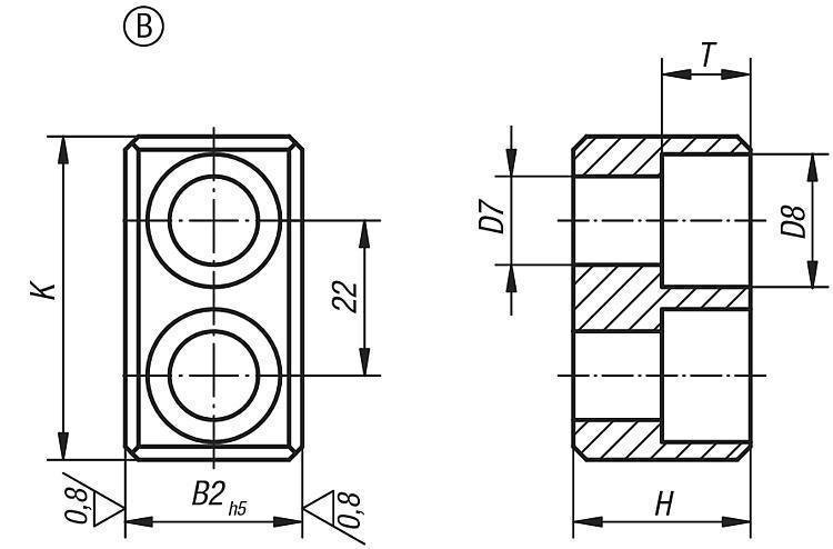 Clavette fixe pour broche DIN 2079 - Cales parallèles, lardons goupilles cylindriques
