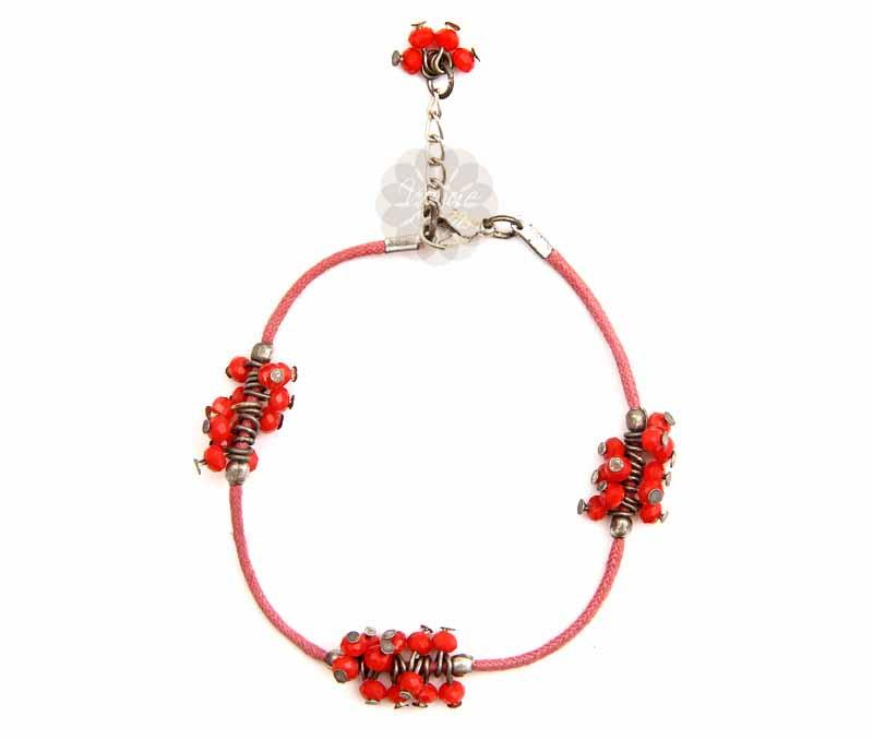 Red Bead Cluster Anklet -