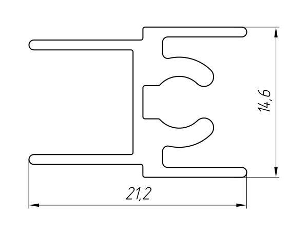 Aluminum Profile For Wardrobes Ат-2716 - Aluminum profile for wardrobes